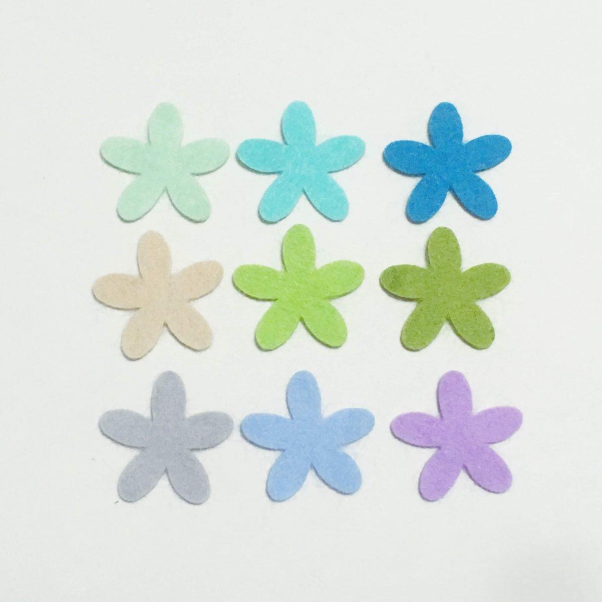 寒色系花のフェルト