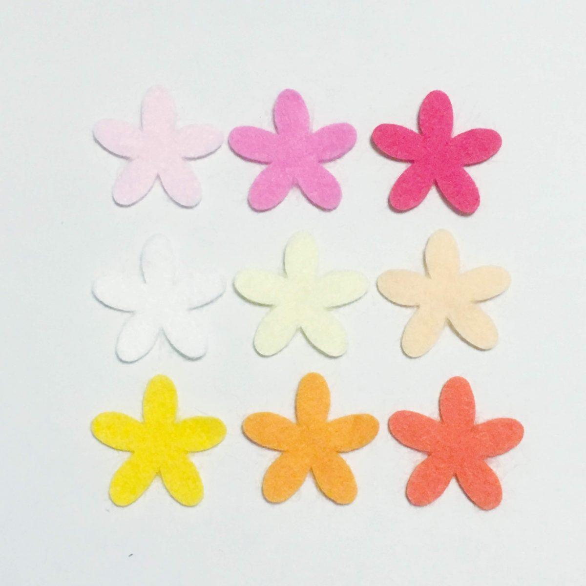 暖色系花のフェルト